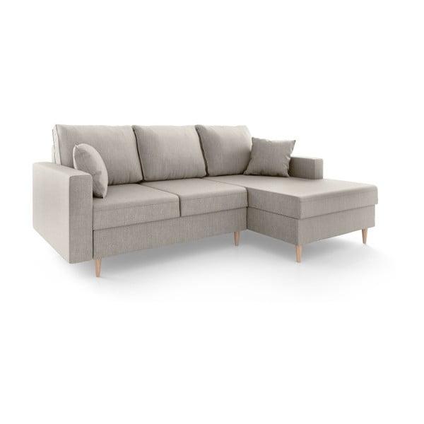 Beżowa 4-osobowa sofa rozkładana Mazzini Sofas Aubrieta, prawostronna