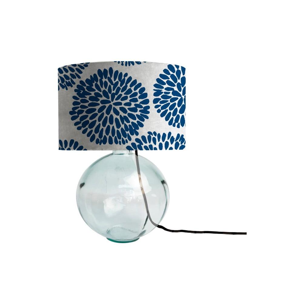 Modrá lampa z ručně foukaného skla se sametovým stínítkem Velvet Atelier