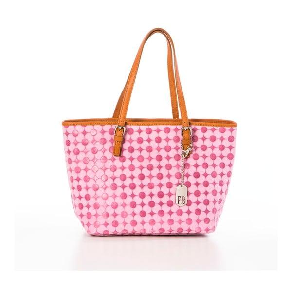 Růžová kožená kabelka Federica Bassi Margherita