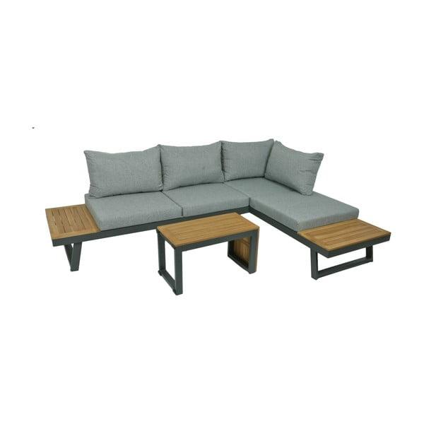 Szary 3-częściowy komplet ogrodowych mebli wypoczynkowych ze stolikiem z aluminiową konstrukcją ADDU Felice