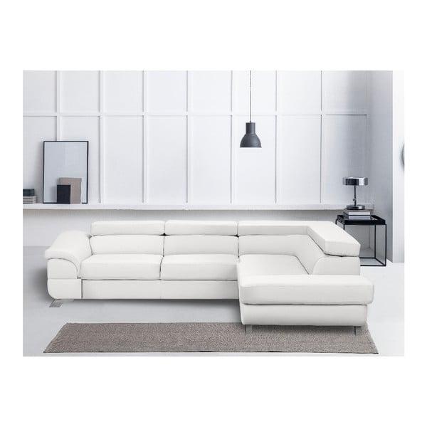 Bílá kožená rozkládací rohová pohovka s úložným prostorem Windsor & Co Sofas Gamma, pravý roh