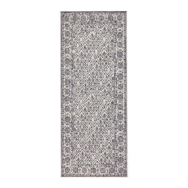Sivo-krémový obojstranný koberec vhodný aj do exteriéru Bougari Curacao, 80 × 150 cm
