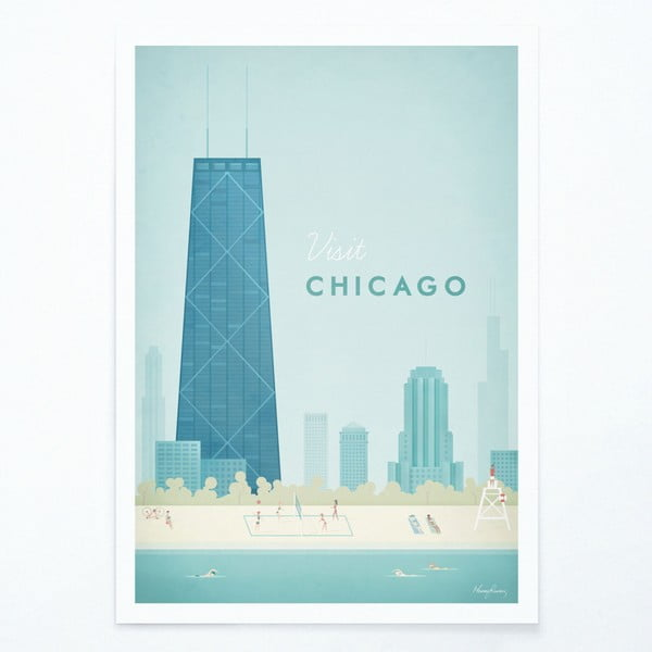 Poster Travelposter Chicago, A3