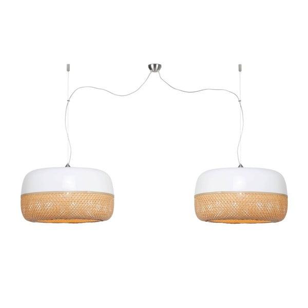 Bielo-hnedé bambusové dvojité závesné svietidlo Good&Mojo Mekong, priemer 60 cm