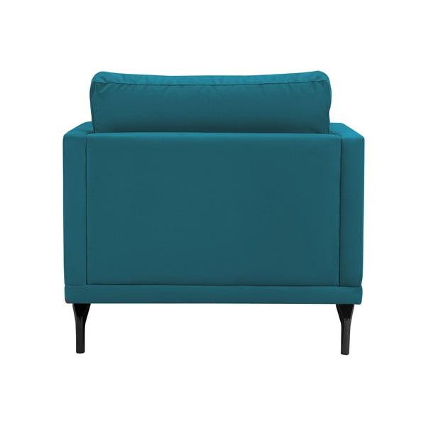 Tyrkysové křeslo s podnožím v černé barvě Windsor & Co Sofas Jupiter