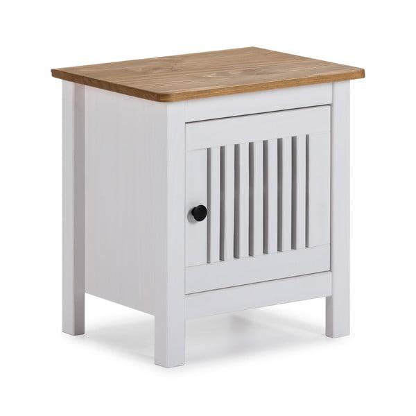 Bílý dřevěný noční stolek Marckeric Bruna