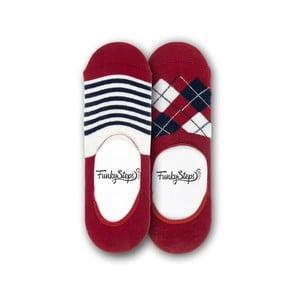 Sada 2 párů nízkých ponožek Funky Steps Reds, velikost 39 – 45