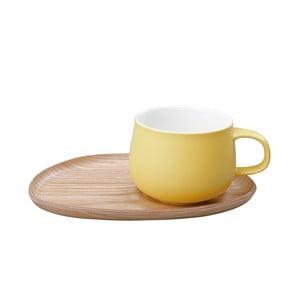Žlutý hrnek s dřevěným podšálkem Kinto Fika