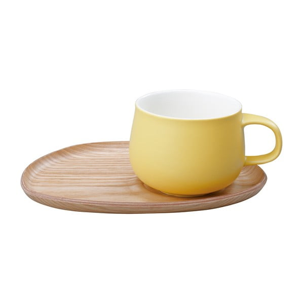 Cană Kinto Fika cu suport din lemn, wood yellow
