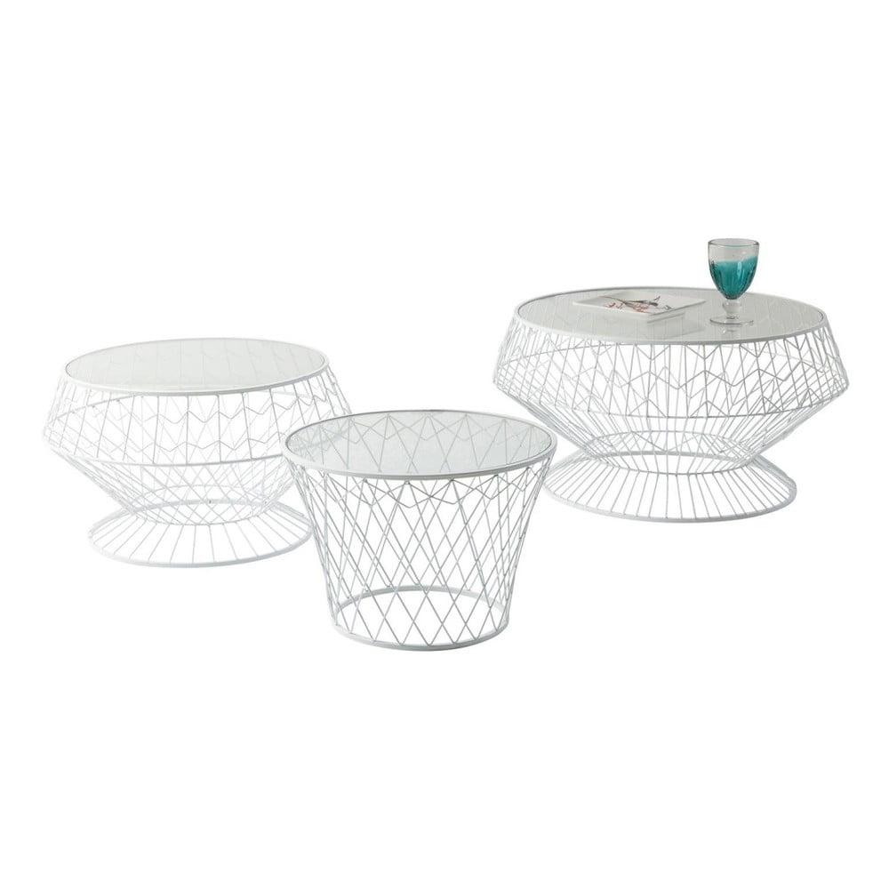 Sada 3 bílých odkládacích stolků Kare Design Wire