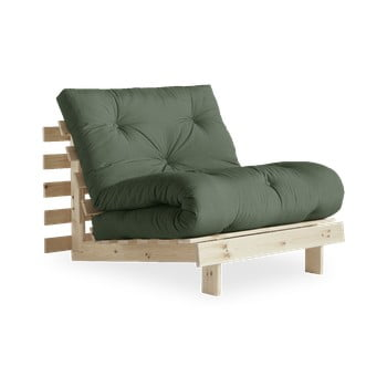 Fotoliu extensibil Karup Design Roots Raw/Olive Green, verde