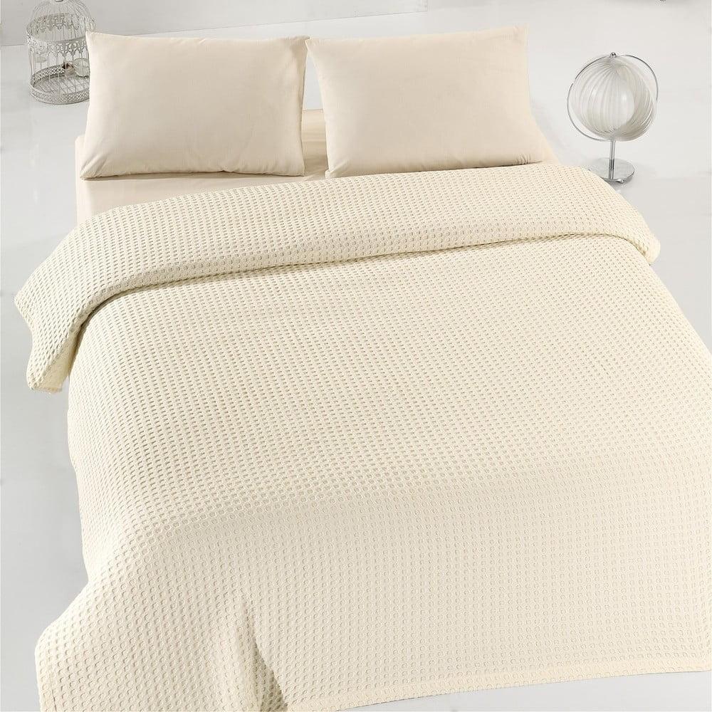 Krémový lehký bavlněný přehoz přes postel na dvoulůžko Caleidoscope, 200 x 240 cm