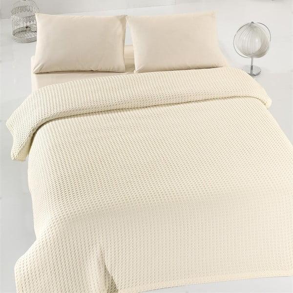 Krémový ľahký bavlnený pléd cez posteľ na dvojlôžko Caleidoscope, 200×240cm