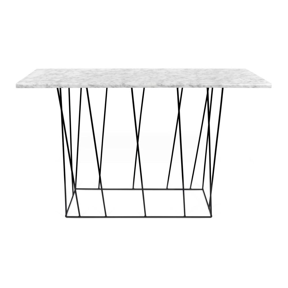 Bílý mramorový konzolový stolek s černými nohami TemaHome Helix, 40 x 120 cm