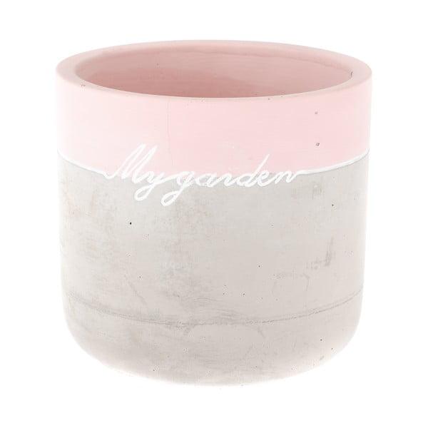 My Garden beton virágtartó rózsaszín részlettel, magasság 13,5 cm - Dakls