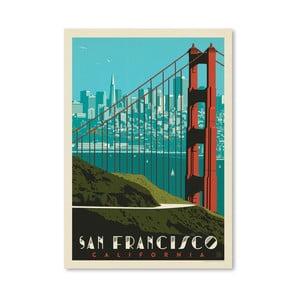 Plakát Americanflat Golden Gate, 42 x 30 cm