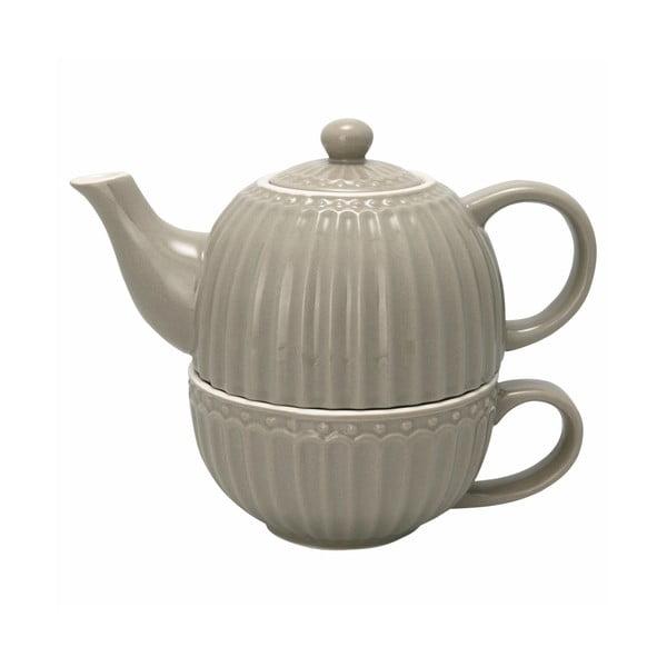 Sivá kanvica na čaj s hrnkčekom Green Gate Alice