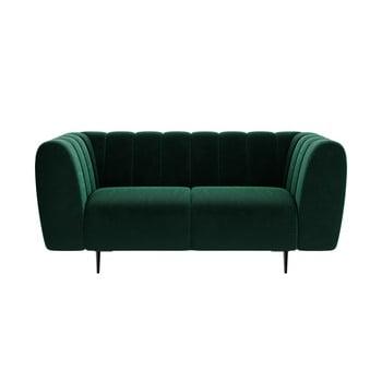 Canapea cu tapițerie din catifea Ghado Shel, 170 cm, verde închis