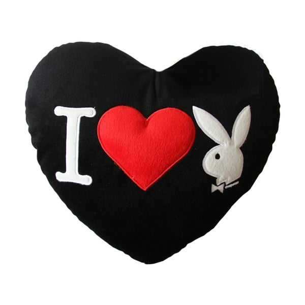Polštář Playboy I Heart Bunny Black, 35x30 cm