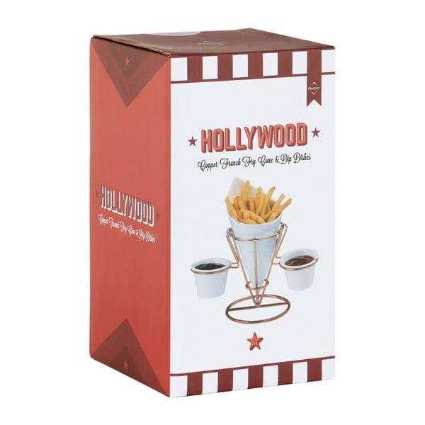 Porcelánový stojánek na hranolky a omáčky v měděné barvě Premier Housewares Hollywood