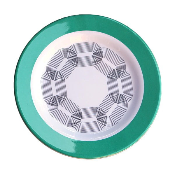 Sada 6 melaminových talířků Sunvibes Maillon Vert, Ø 20 cm