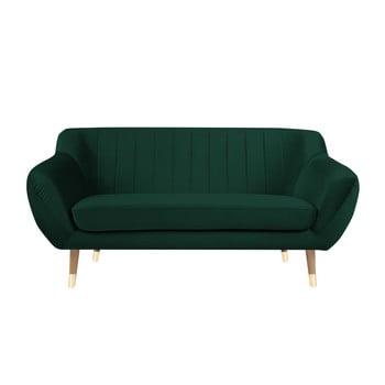 Canapea cu tapițerie din catifea Mazzini Sofas Benito, verde închis, 158 cm imagine