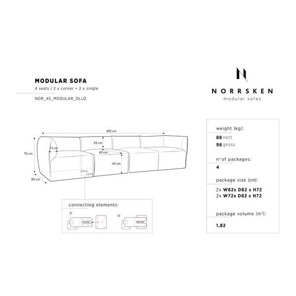 Fialová modulová čtyřmístná pohovka Norrsken Ebbe