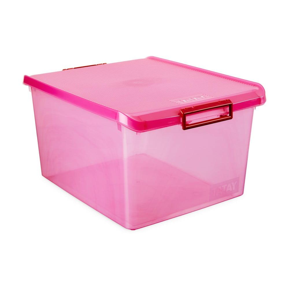 Fuchsiový úložný box s víkem Ta-Tay Storage Box, 35 l
