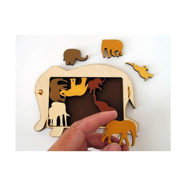 Dřevěná skládanka RecentToys Elephant Parade