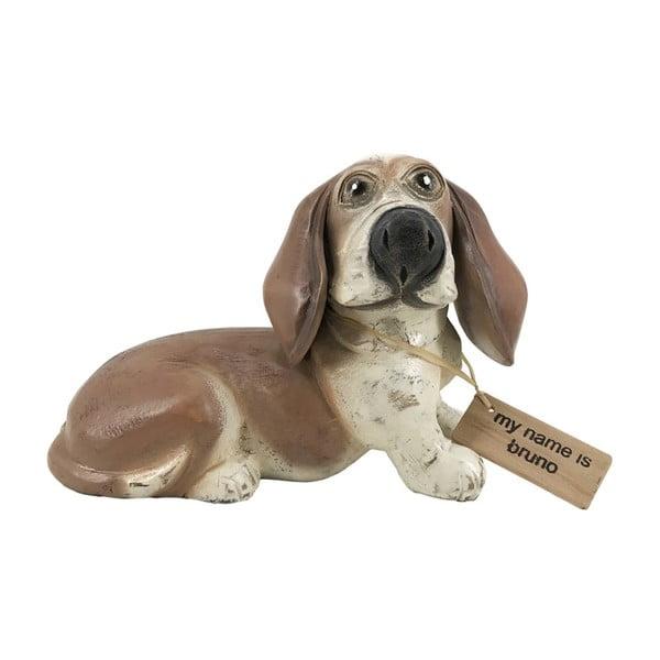 Dekorace z teakového dřeva Moycor Bruno Dog, výška 20 cm