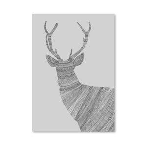 Plakát Stag Grey od Florenta Bodart, 30x42 cm