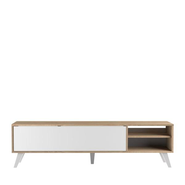 Biała szafka pod TV z jasnobrązowym korpusem TemaHome Prism