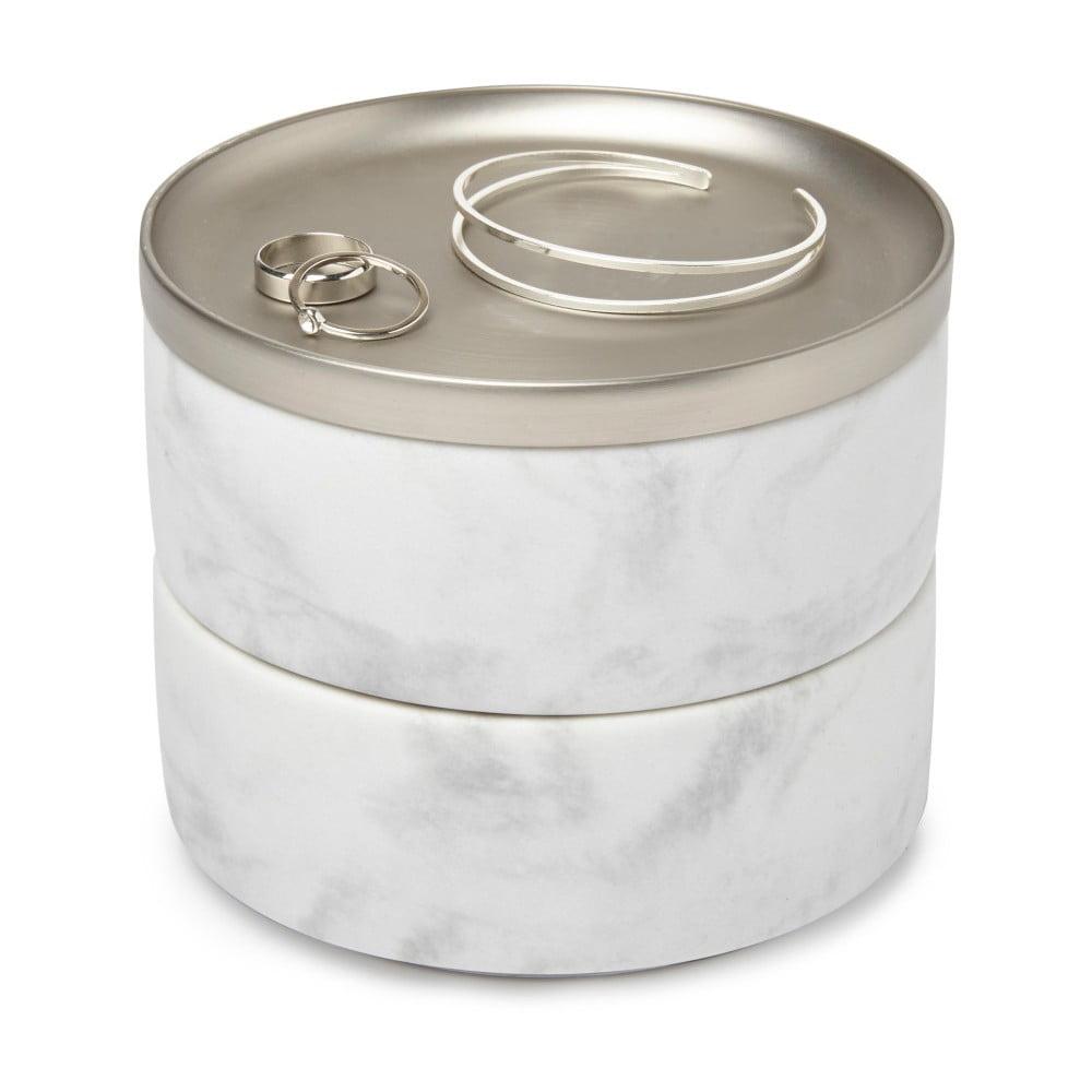 Šperkovnice s mramorovým dekorem a víčkem ve stříbrné barvě Umbra Tesora