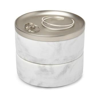 Cutie pentru bijuterii cu decor din marmură și capac argintiu Umbra Tesora imagine