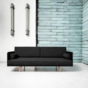Canapea extensibilă Karup Deva Black/Raw Oak/Dark