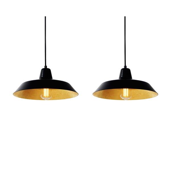 Lampa wisząca z 2 czarnymi kablami i kloszami w czarnym oraz złotym kolorze Bulb Attack Cinco, ⌀ 85cm