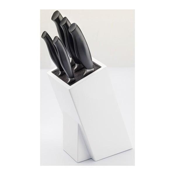Sada 5 nožů z nerezové oceli a bloku na nože Jean Dubost Crazy Blanc