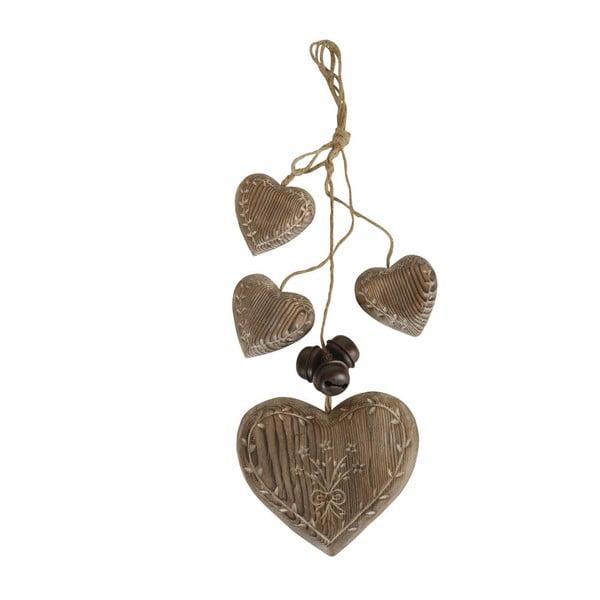 Závěsná dekorace Antic Line Wood Garland Hearts