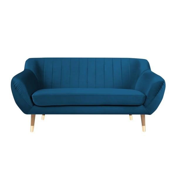 Modrá sametová pohovka Mazzini Sofas Benito, 158 cm