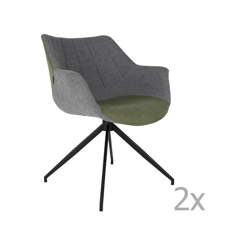 Sada 2 šedo-zelených židlí Zuiver Doulton