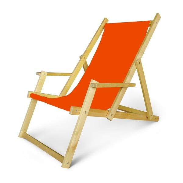 Dřevěné nastavitelné lehátko s područkami JustRest, oranžové