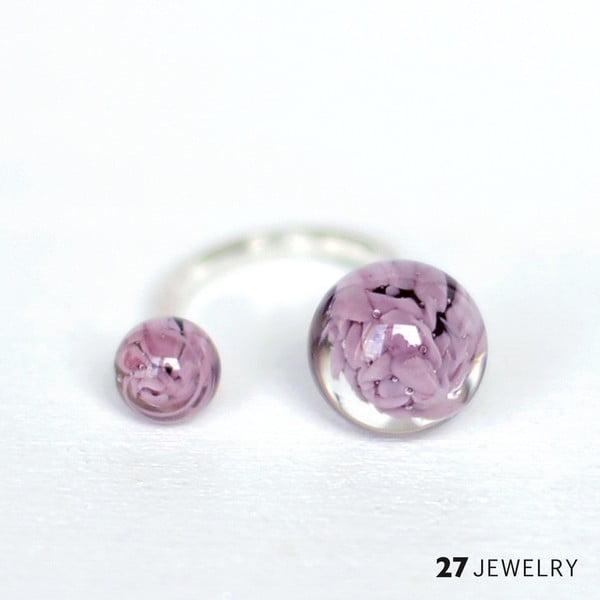 Lila dvojitý prsten ze skla Enamor, vel. M