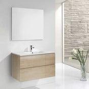 Koupelnová skříňka s umyvadlem a zrcadlem Monza, dekor dřeva, 120 cm