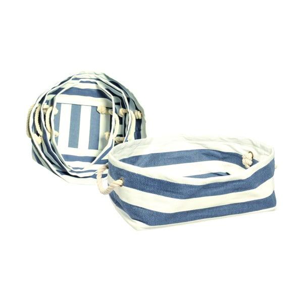 Látkové košíky, sada tří kusů, modrá