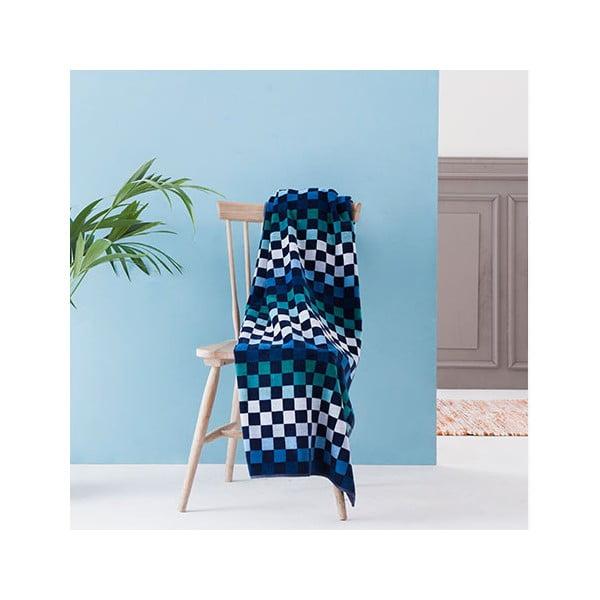 Zeleno-modrá velká bavlněná osuška Casa Di Bassi Squares, 100 x 180 cm