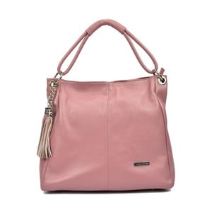 Růžová kožená kabelka Anna Luchini Kate Rosa