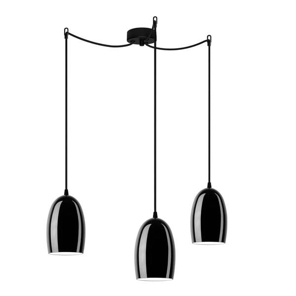 Czarna potrójna lampa Sotto Luce UME Elementary 3S Glossy