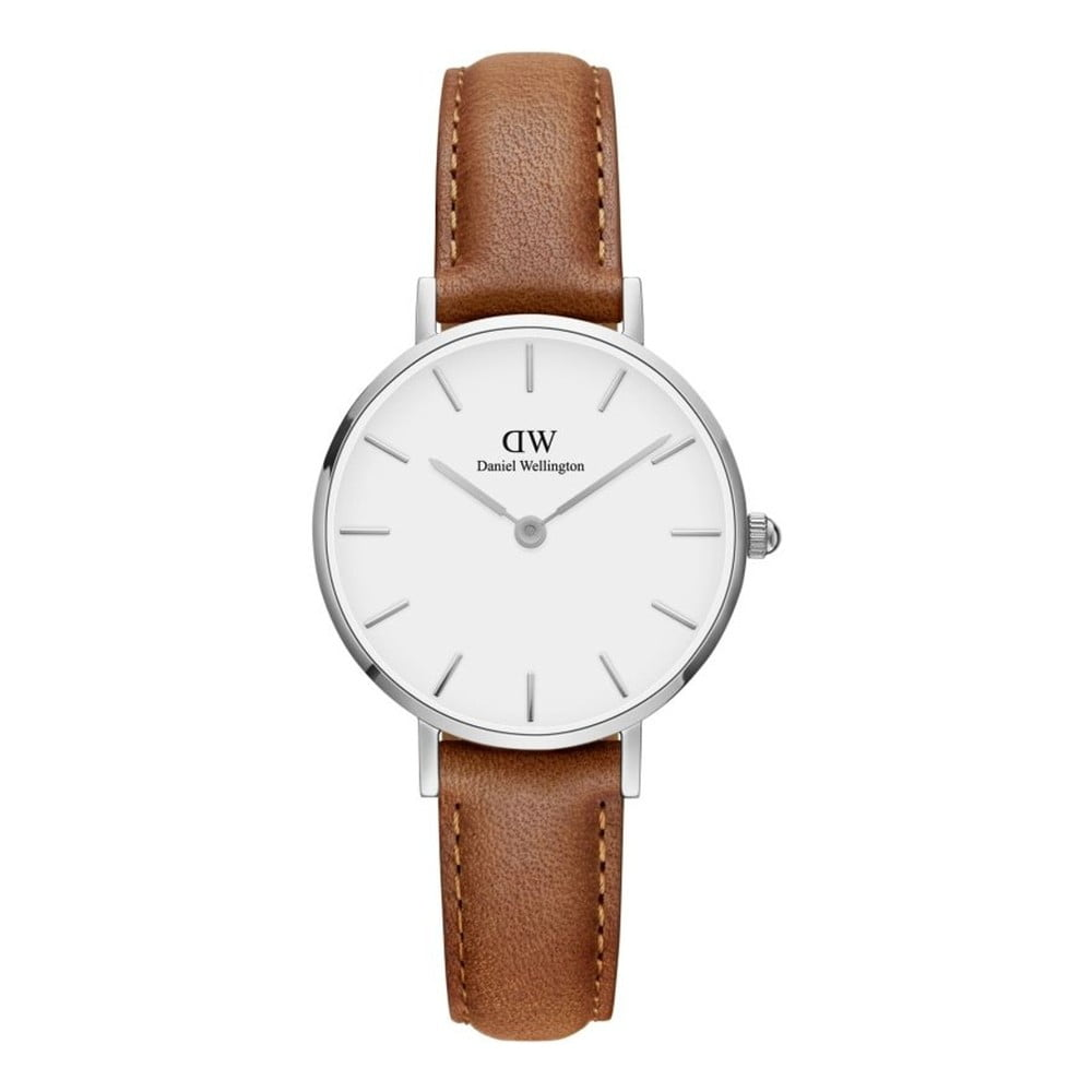 Dámské hodinky s koženým řemínkem a bílým ciferníkem s detaily stříbrné barvy Daniel Wellington Petite Durham, ⌀ 28 mm
