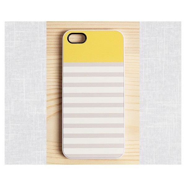 Obal na iPhone 5, Striped Mellow Yellow/white