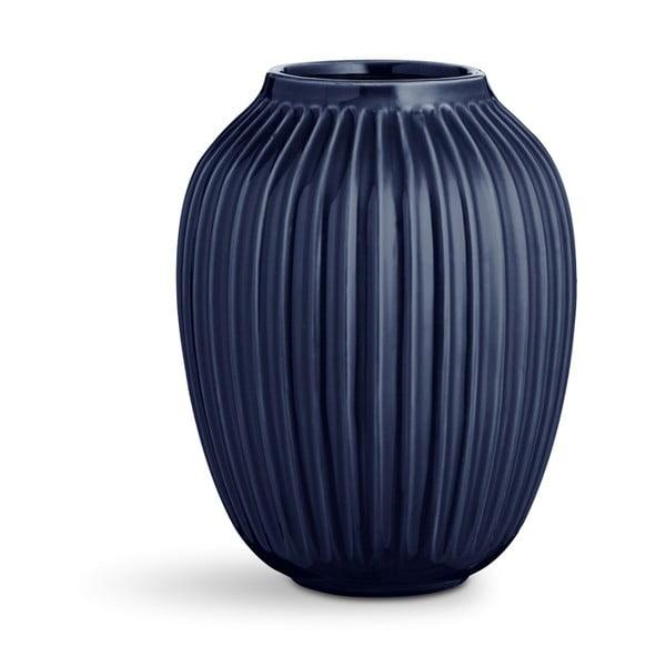 Tmavě modrá kameninová váza Kähler Design Hammershoi,výška 25 cm